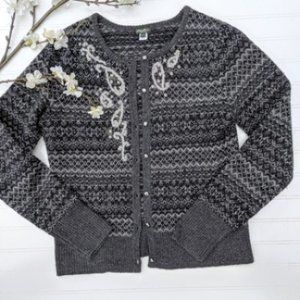Eddie Bauer Gray Wool Embroidered, Beaded Cardigan